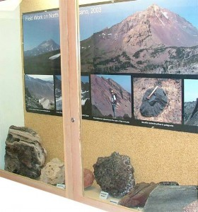 Earth Science volcanology display.