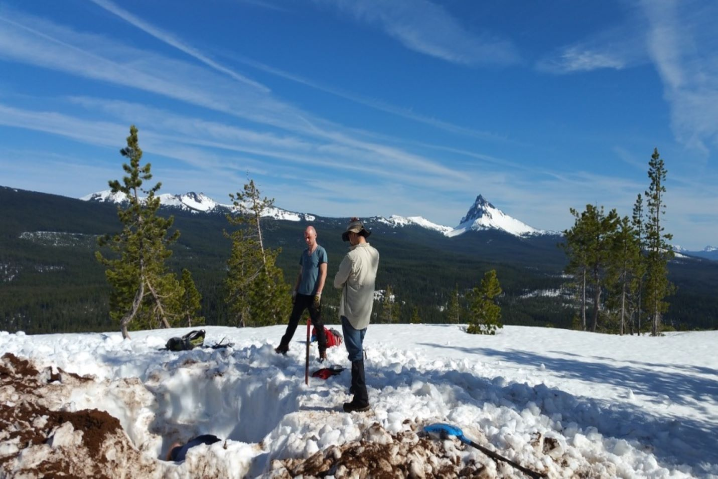 Students performing research in the High Cascades/