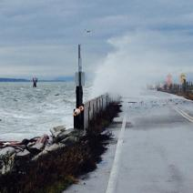 Storm waves strike Washington's Lummi Island in 2016 (Photo by P. Granger at WASeaGrant).
